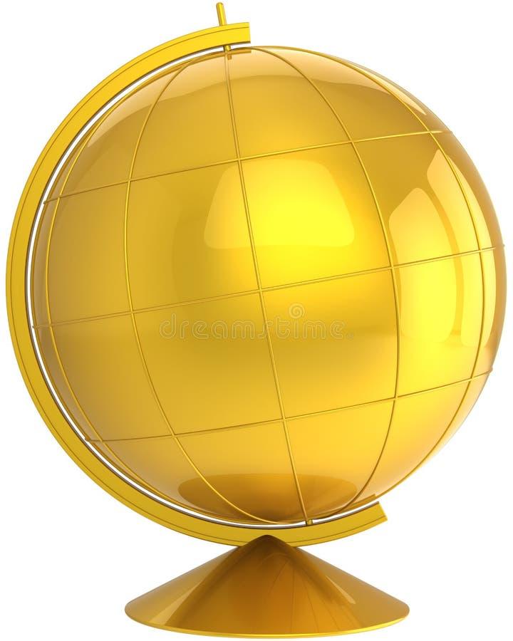 Símbolo dourado do planeta da terra do desctop do globo ilustração do vetor