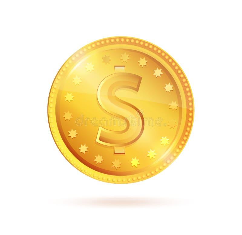 Símbolo dourado do vetor do sinal de dólar da moeda ilustração royalty free