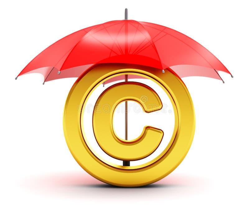 Símbolo dourado dos direitos reservados coberto pelo guarda-chuva vermelho ilustração stock