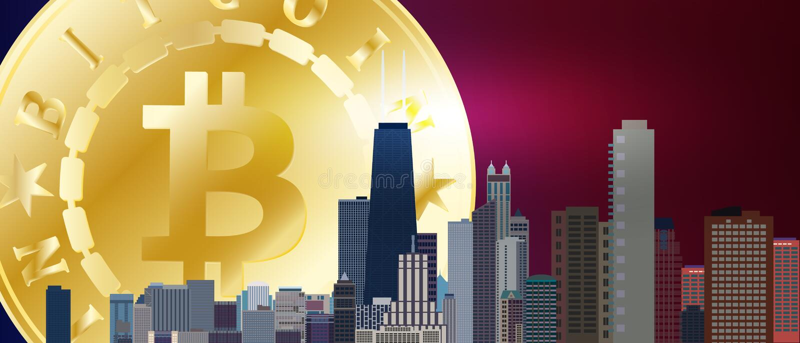 Símbolo dourado grande do bitcoin sobre a cidade de Chicago Bitcoin e conceito da tecnologia do blockchain Rede de Bitcoin com si ilustração do vetor