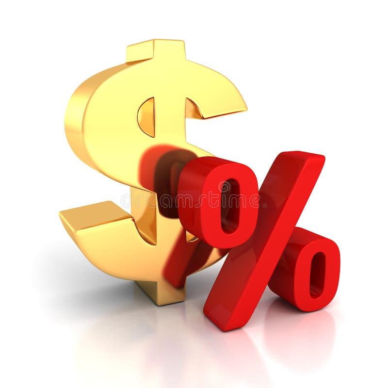Símbolo dourado grande do dólar e sinal de por cento vermelho no branco com refl ilustração royalty free