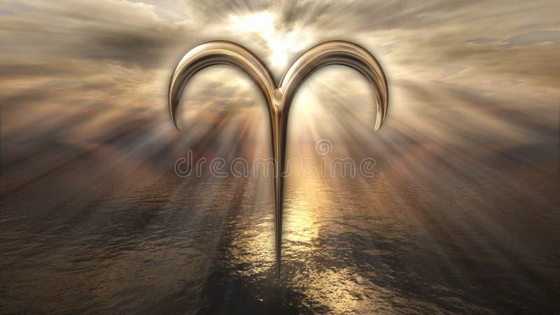 Símbolo dourado místico do Áries do horóscopo do zodíaco rendição 3d ilustração stock