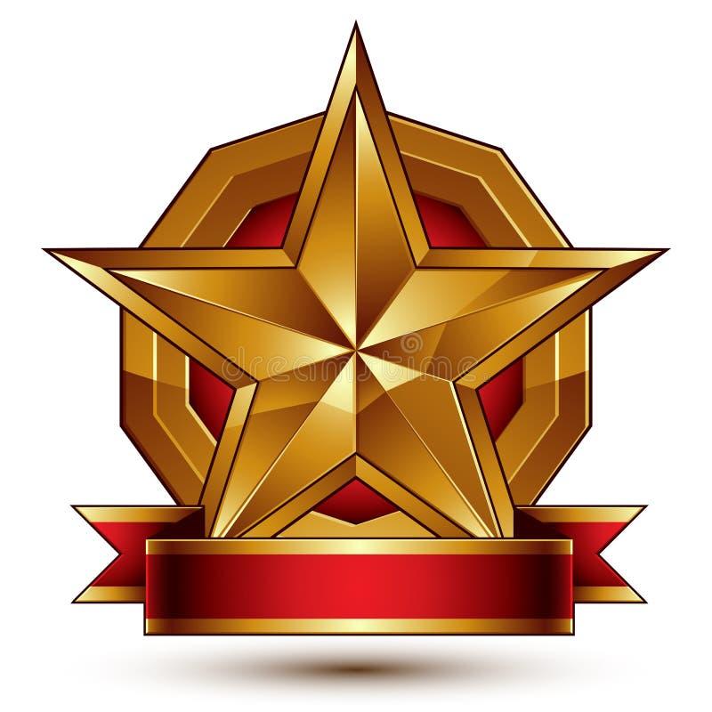 Símbolo dourado marcado com a estrela lustrosa pentagonal estilizado ilustração do vetor