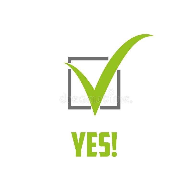Símbolo e icono verdes de la marca de verificación para el gráfico aprobado del concepto y de la web de diseño libre illustration