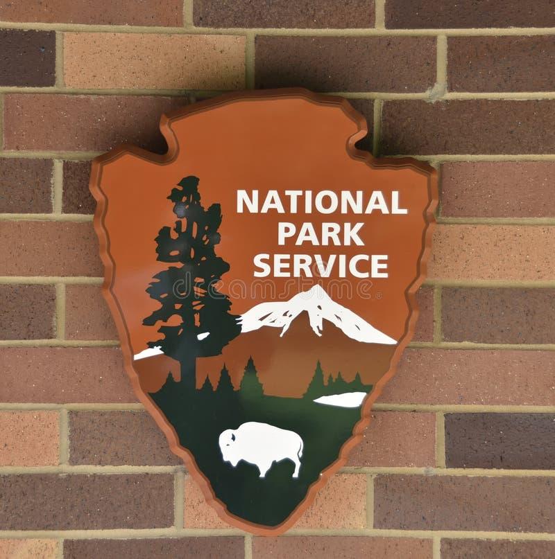 Símbolo e logotipo de emblema oficial do Serviço Nacional Park fotografia de stock royalty free