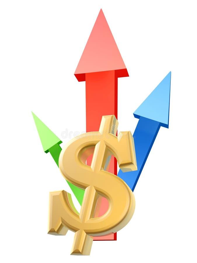 Símbolo e setas do dólar ilustração stock