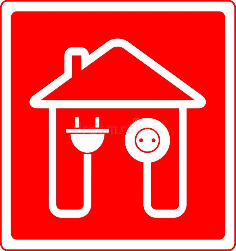 Símbolo elétrico com tomada e tomada da C.A. ilustração royalty free