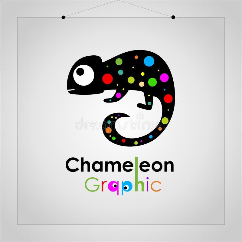 Símbolo elegante del emblema del icono de los colores completos de la circular del camaleón del logotipo - vector stock de ilustración