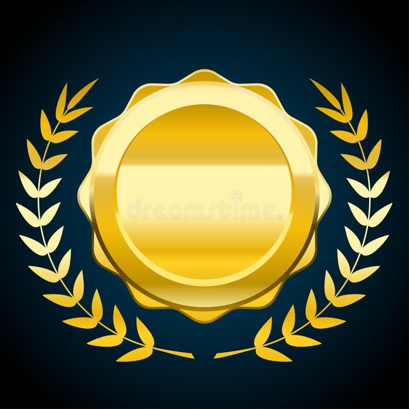 Símbolo en blanco del oro, ejemplo del vector del premio con la guirnalda del laurel libre illustration