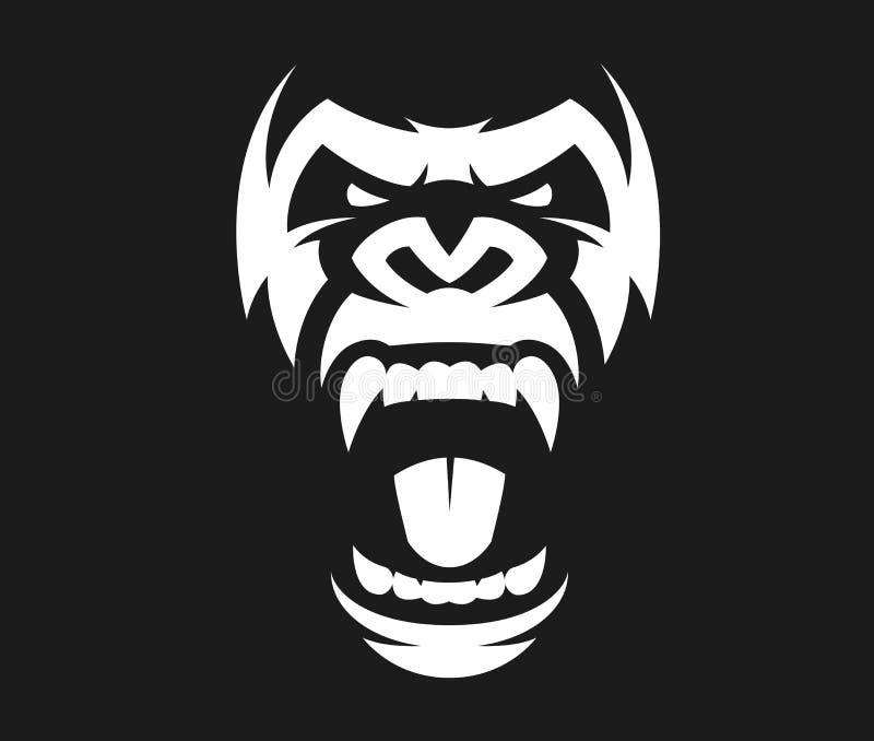 Símbolo enojado del gorila ilustración del vector