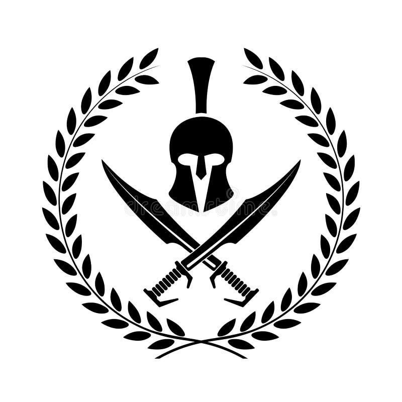Símbolo espartano del casco de un guerrero ilustración del vector