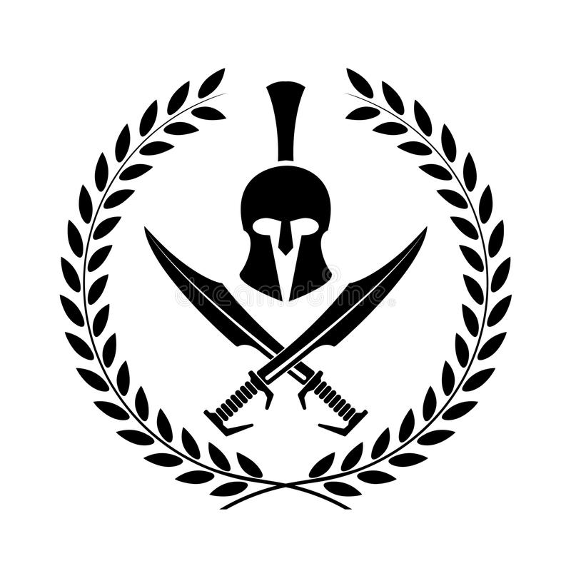 Símbolo espartano do capacete de um guerreiro ilustração do vetor