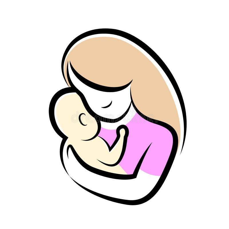 Símbolo estilizado de la madre y del bebé libre illustration
