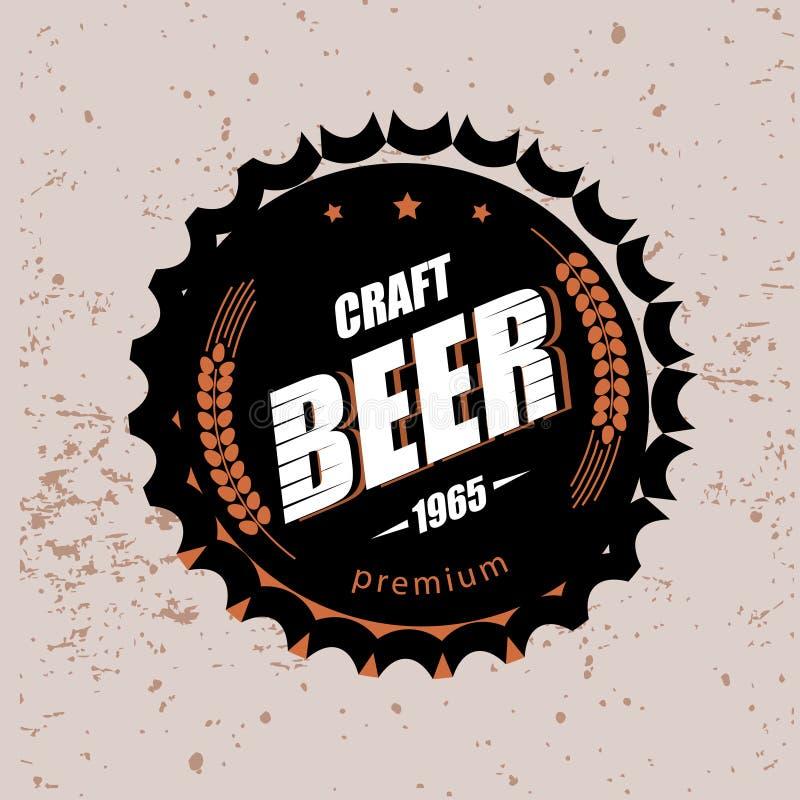 Símbolo estilizado del vector del casquillo de la cerveza imagen de archivo