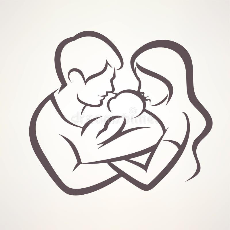 Símbolo estilizado del vector de la familia feliz stock de ilustración