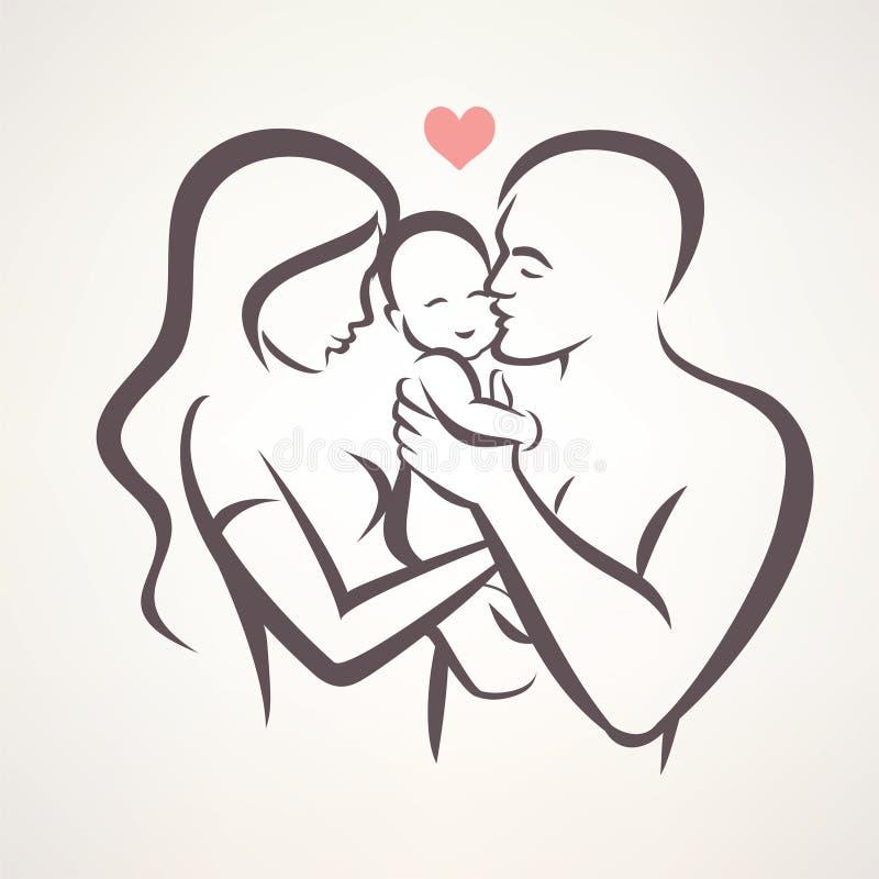 Símbolo estilizado del vector de la familia feliz ilustración del vector