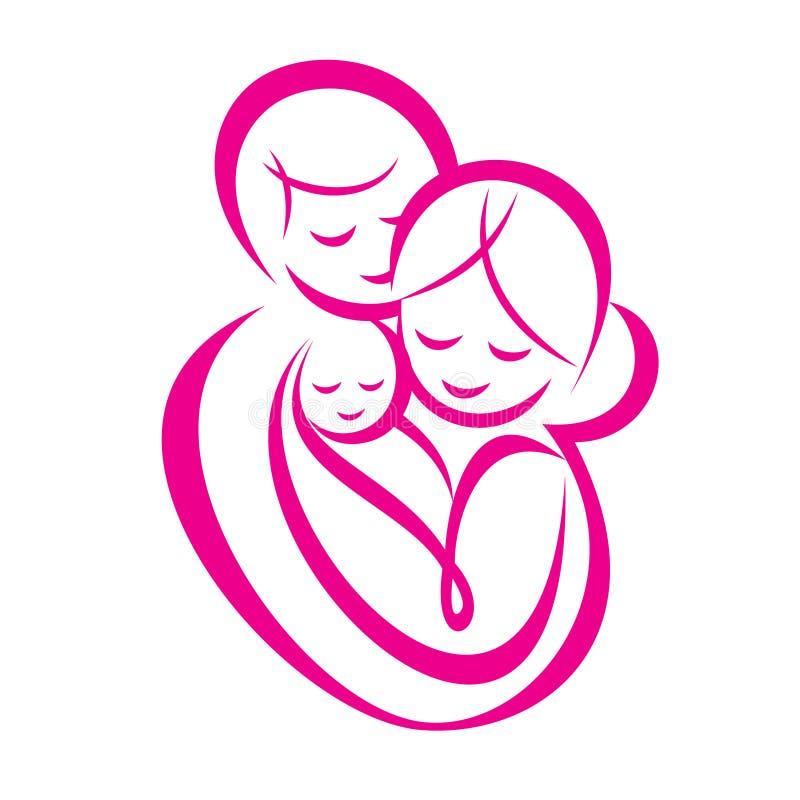 Símbolo estilizado del vector de la familia feliz libre illustration
