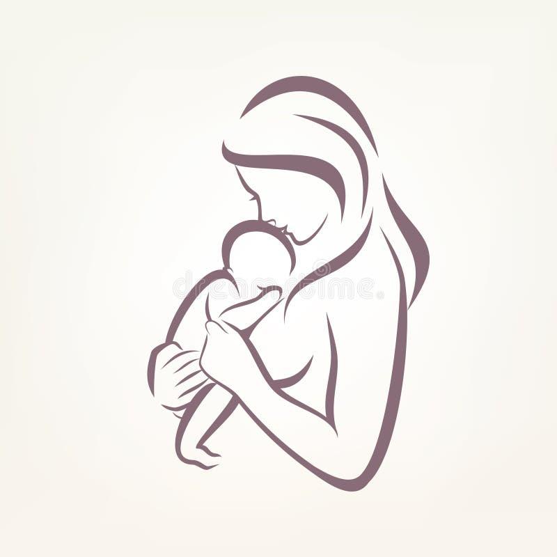 Símbolo estilizado do vetor da mamã e do bebê ilustração royalty free
