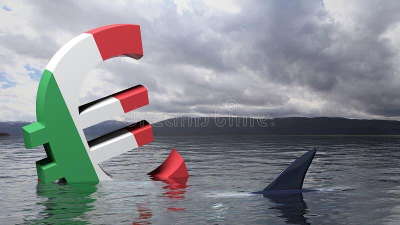 Símbolo euro con la bandera de Italia que se hunde en el mar libre illustration