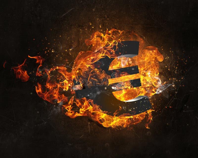 Símbolo euro en fuego foto de archivo libre de regalías