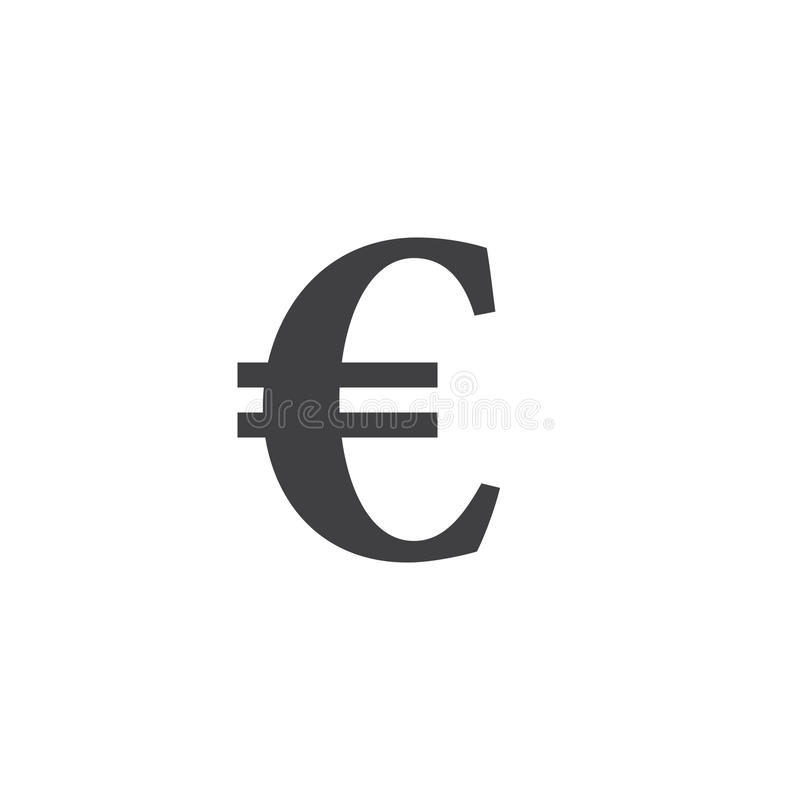 Símbolo euro firme, el ejemplo sólido del logotipo, ISO del pictograma stock de ilustración