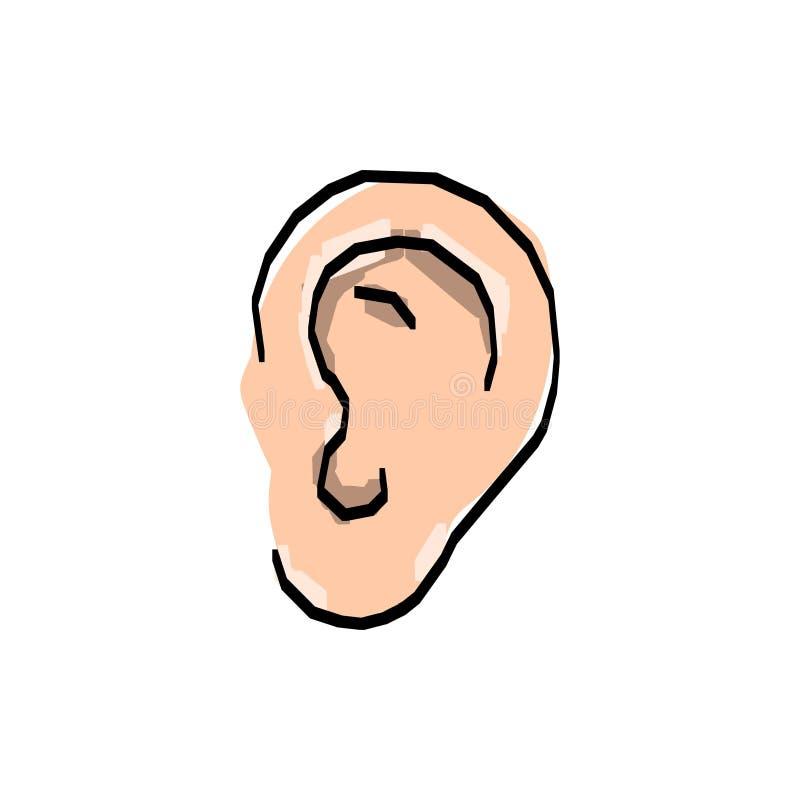 Símbolo exhausto del bosquejo del oído de la mano El vector escucha el dibujo lineal del elemento, stock de ilustración
