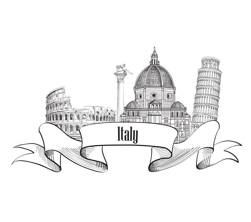 Símbolo famoso dos marcos do italiano Etiqueta de Trave Itália Skyline de Itália ilustração do vetor