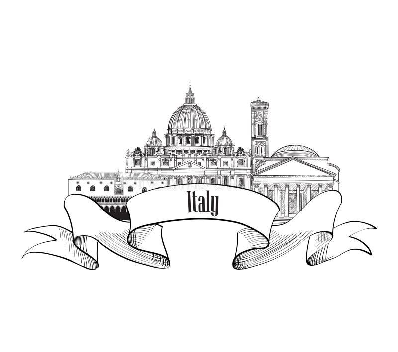 Símbolo famoso dos marcos do italiano Etiqueta de Trave Itália Skyline de Itália ilustração stock