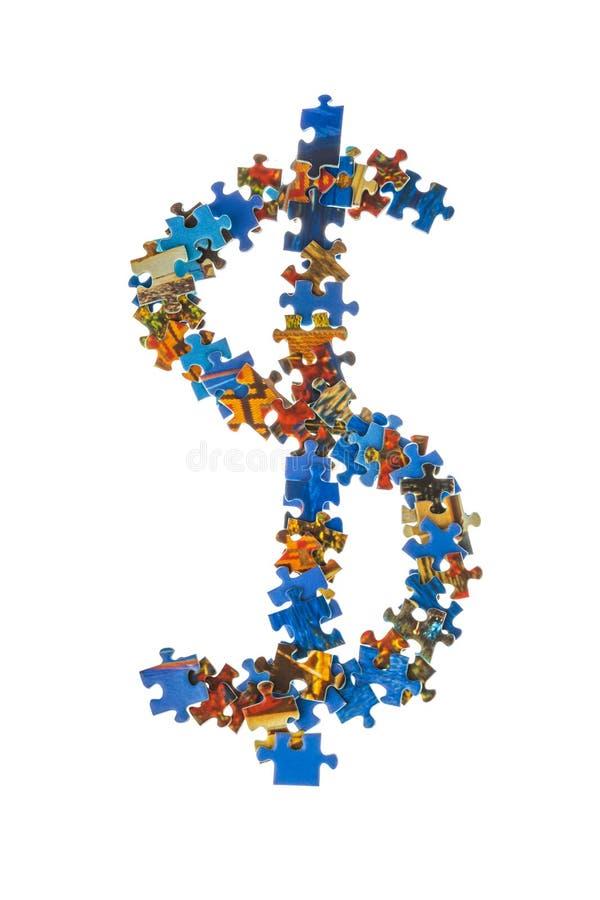 Símbolo $ feito de partes do enigma fotos de stock royalty free