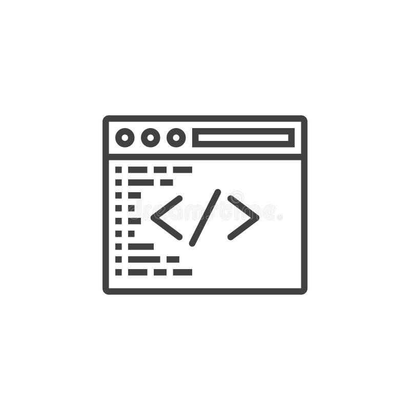 Símbolo feito sob encomenda da codificação Linha de programação ícone, sinal do vetor do esboço ilustração royalty free