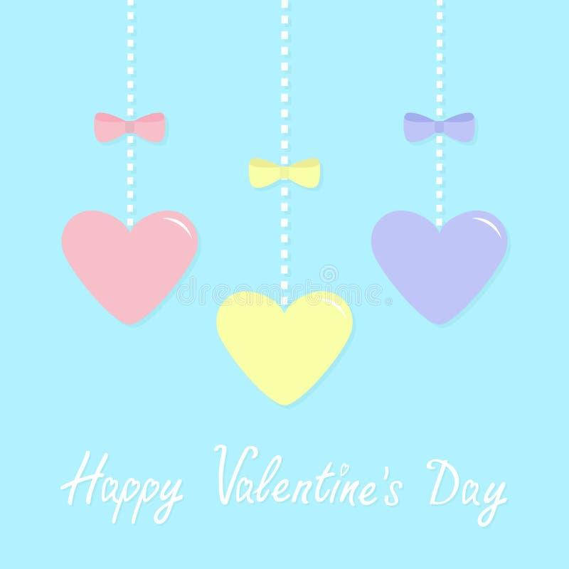 Símbolo feliz do sinal do dia de Valentim Os corações de papel amarelos azuis cor-de-rosa que penduram no traço alinham, curvam-s ilustração royalty free