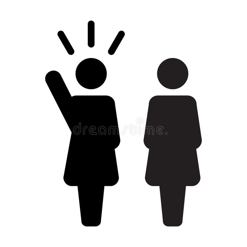 Símbolo femenino de la persona del orador del vector de Icon del líder para la dirección con la mano aumentada en pictograma del  stock de ilustración