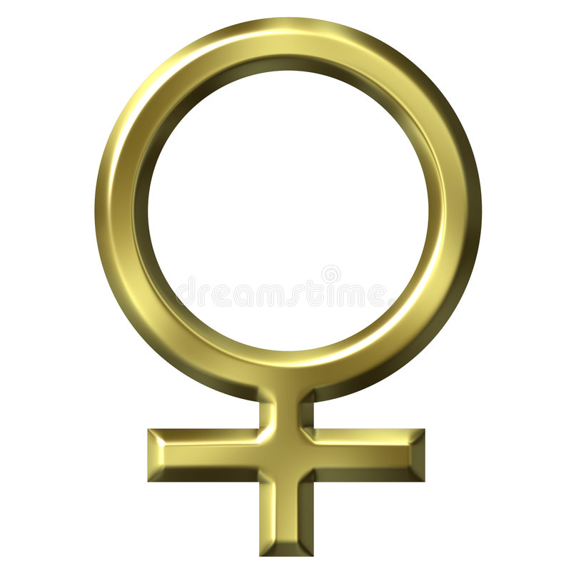 símbolo femenino de oro 3D libre illustration