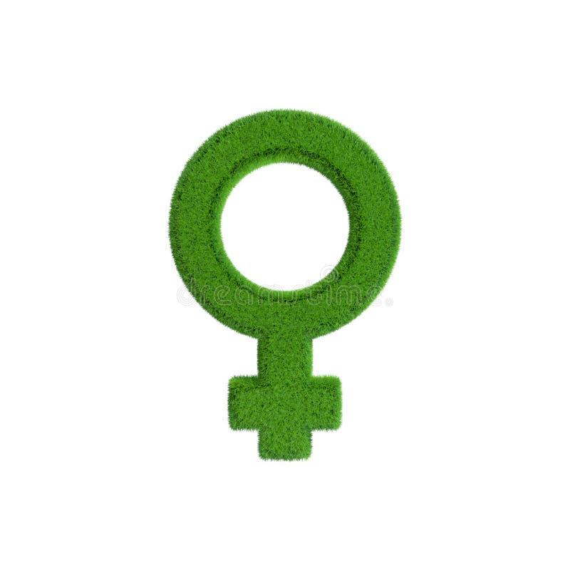 Símbolo femenino del género de la hierba ilustración de la representación 3d stock de ilustración