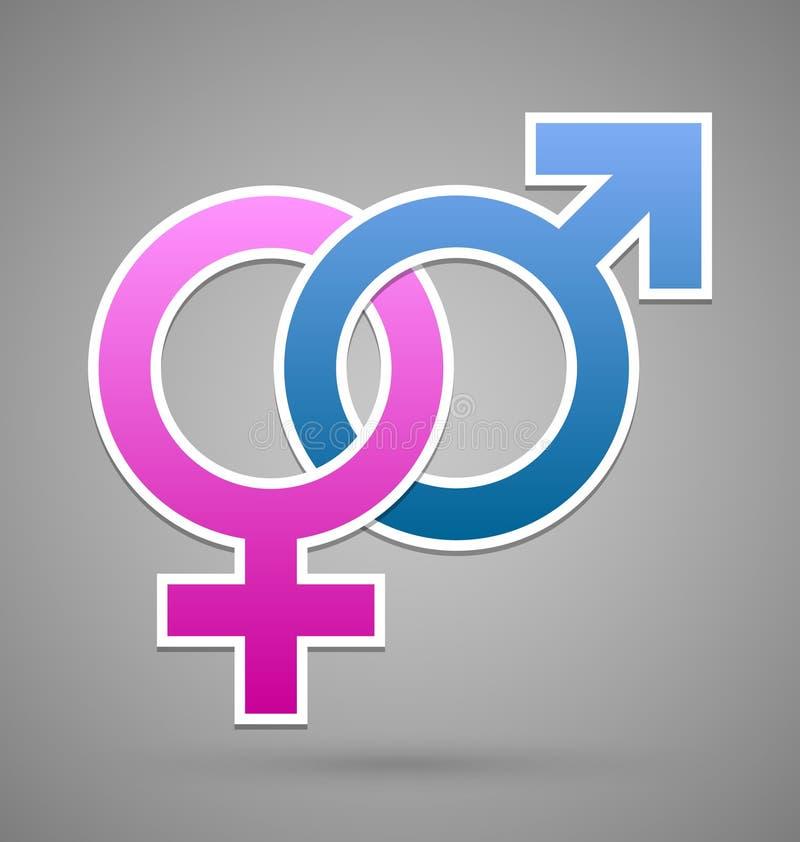 Símbolo femenino y masculino de Venus y de Marte stock de ilustración