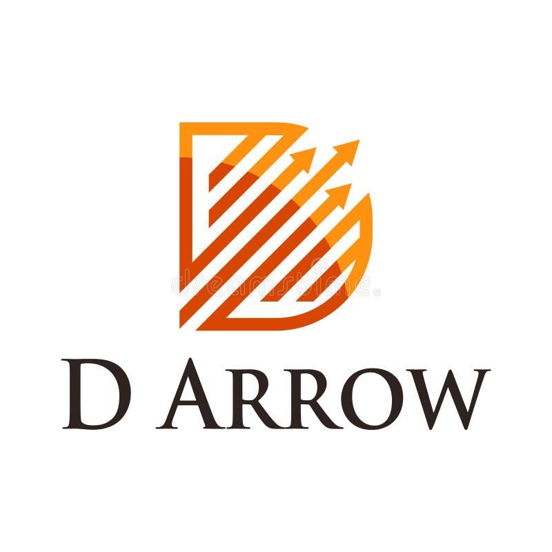 Símbolo financeiro da melhoria da seta dourada do crescimento da letra de D ilustração royalty free