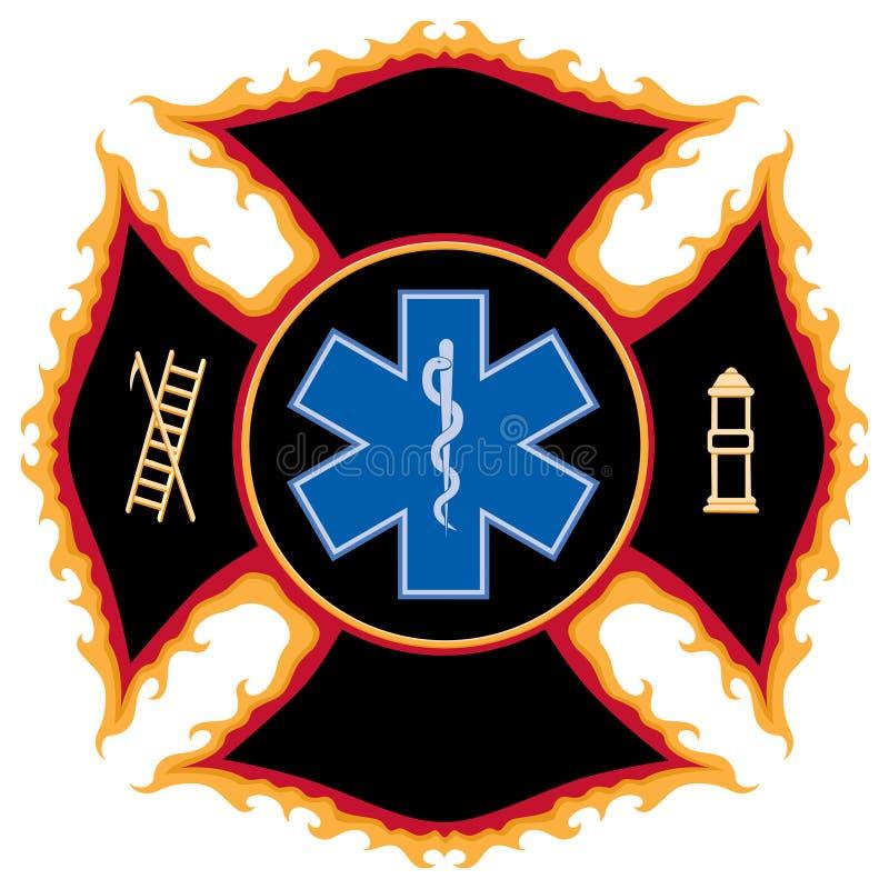 Símbolo flamejante do salvamento do incêndio ilustração royalty free