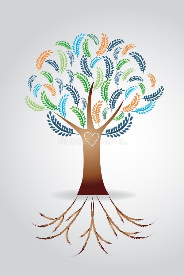 Símbolo floral do casamento da árvore do logotipo ilustração do vetor