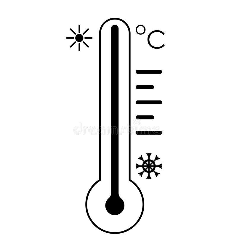 S?mbolo fr?o del icono del term?metro y s?mbolo del sol Ilustraci?n del vector en el fondo blanco stock de ilustración