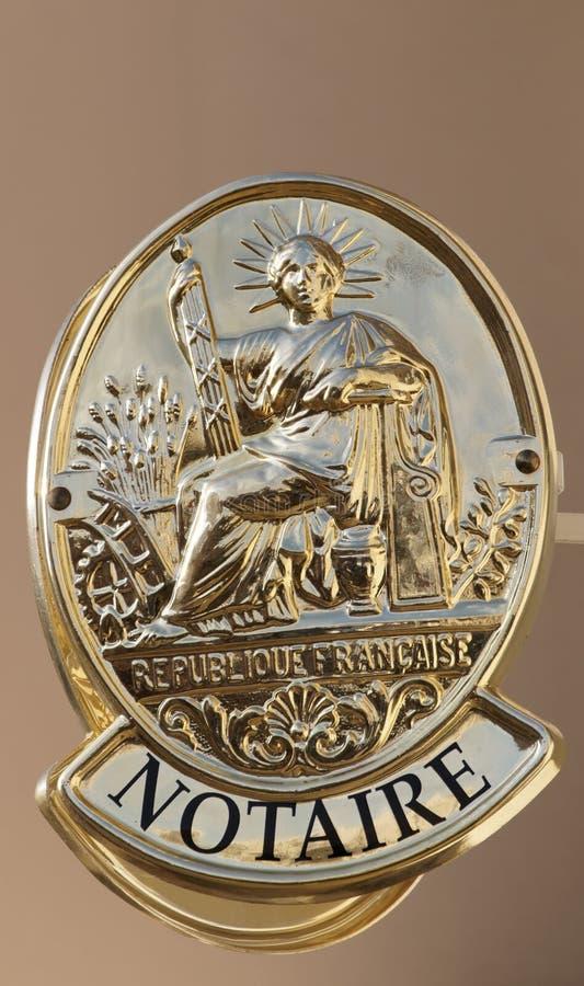 Símbolo francés de la oficina de notario imagen de archivo libre de regalías