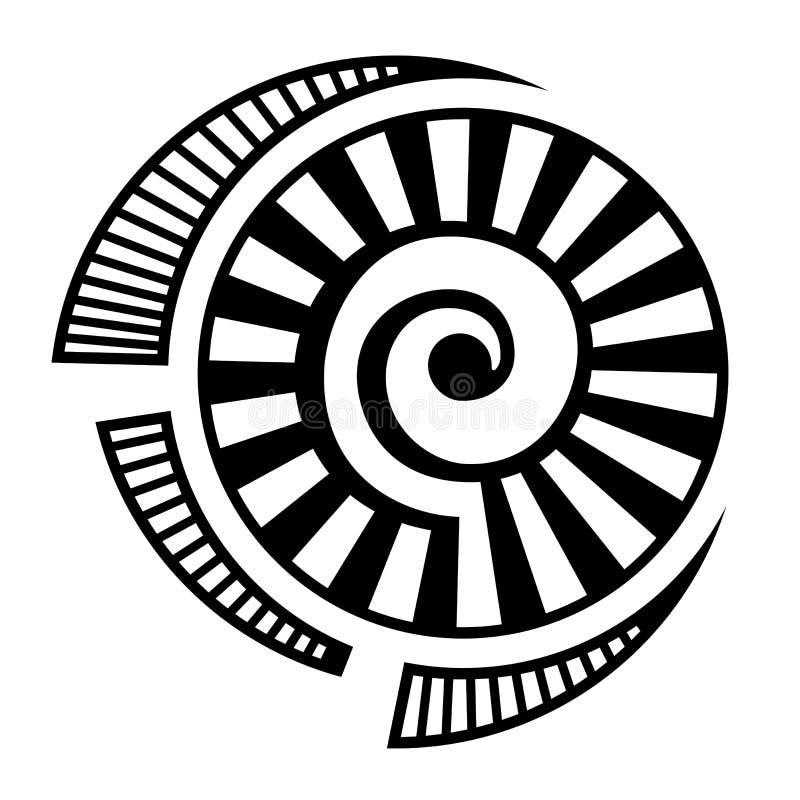 Símbolo geométrico abstracto, aislado en el fondo blanco Forma espiral, redonda libre illustration