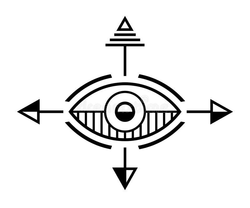 Símbolo geométrico abstracto Muestra sagrada de la geometría stock de ilustración
