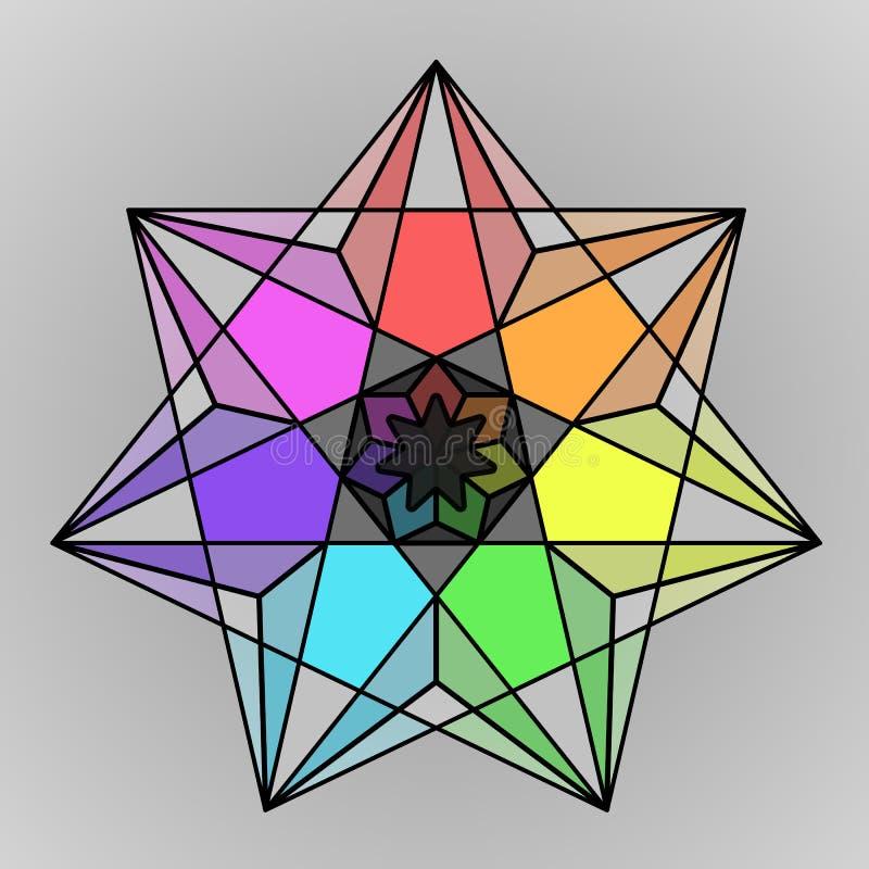 Símbolo geométrico colorido da estrela do arco-íris ilustração do vetor