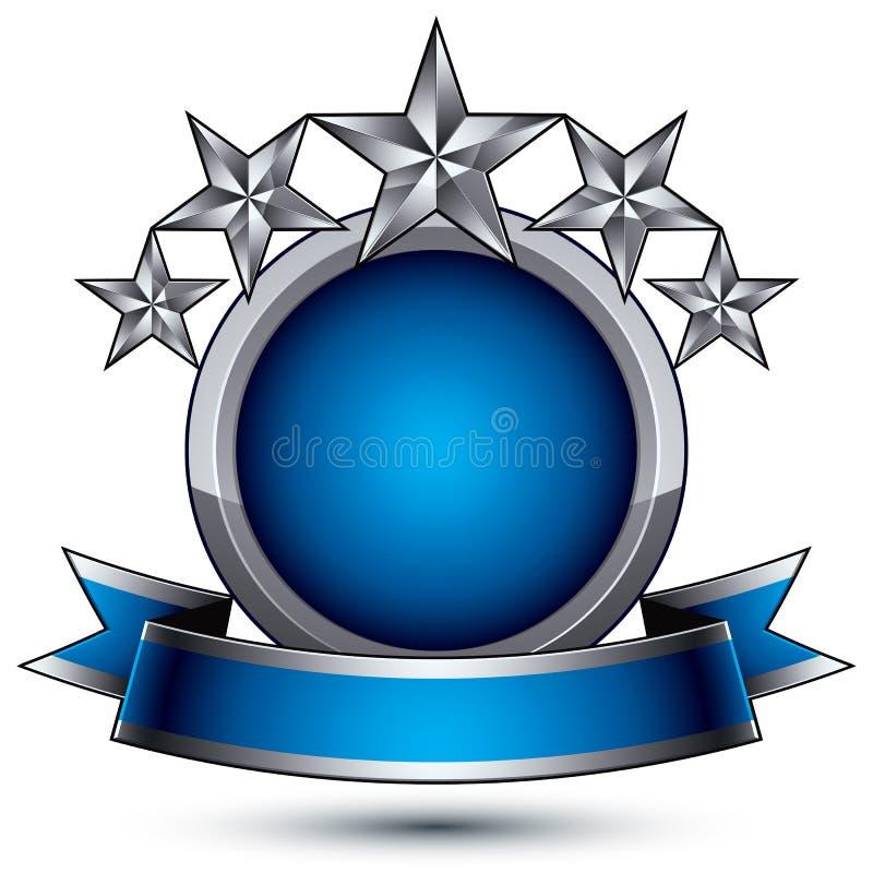 Símbolo geométrico de prata marcado com fita curvy ilustração royalty free