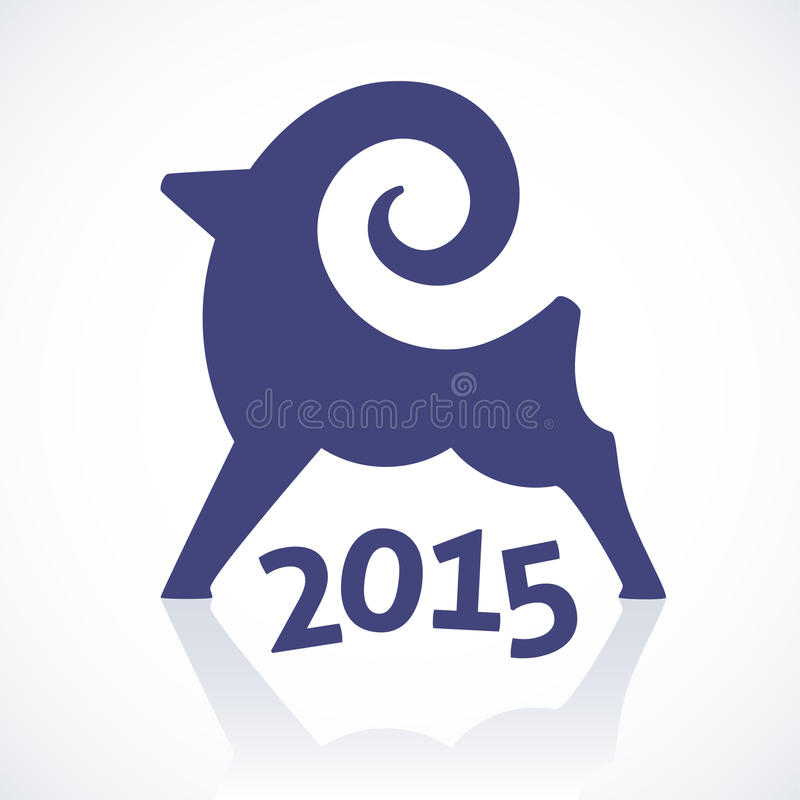 Símbolo geométrico de una cabra 2015 stock de ilustración
