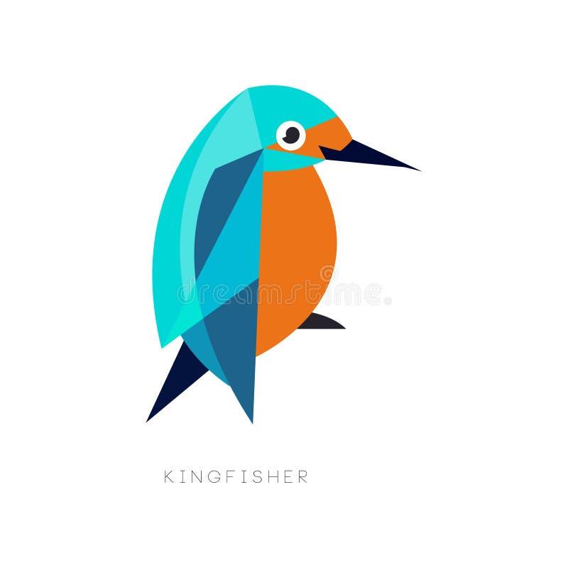Símbolo geométrico del martín pescador Pájaro brillantemente coloreado con el pico largo Icono en estilo plano Diseño abstracto d libre illustration