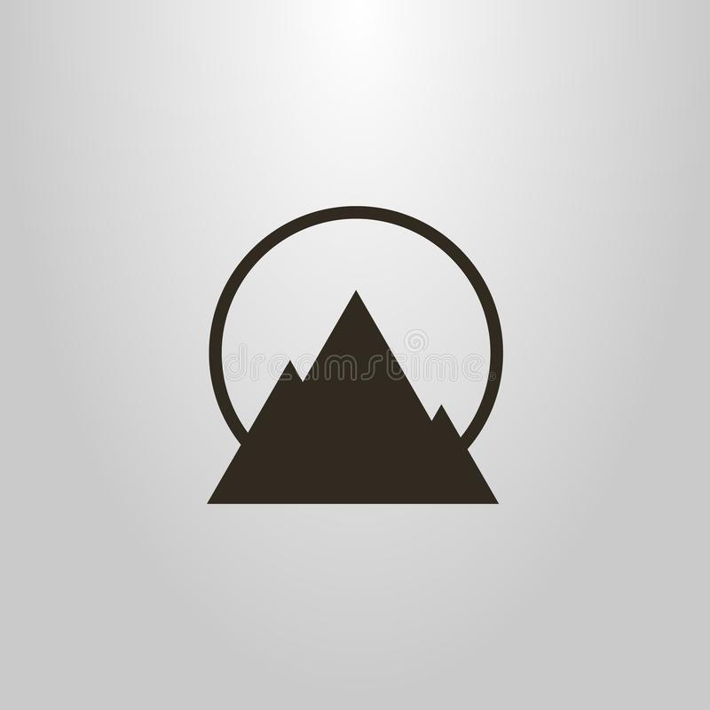 Símbolo geométrico del vector simple del paisaje y del sol de la montaña libre illustration