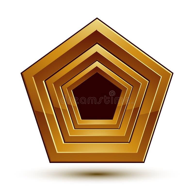 Símbolo geométrico dourado marcado, estrela estilizado com fillin preto ilustração royalty free