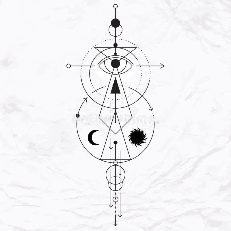 Símbolo geométrico moderno de la alquimia stock de ilustración