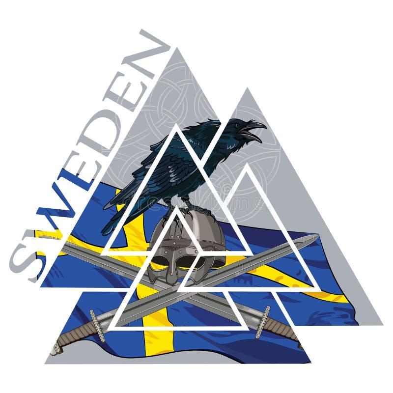Símbolo germánico nórdico pagano antiguo de Valknut, bandera de Suecia, armas del cuervo y de Viking ilustración del vector